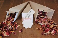 40 Real rose biodegradable confetti cones personalised tags and ribbon wedding