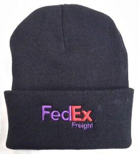FedEx Freight Black Knit Beanie Winter Hat Toque Skull Cap Cuffed 100% ACRYLIC