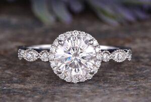 Art Deco Halo Round Moissanite Engagement Ring, Half Eternity Anniversary Ring