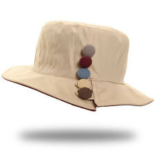 Rain Hat With Button Detail - Beige (good for cancer, chemo, hair loss)