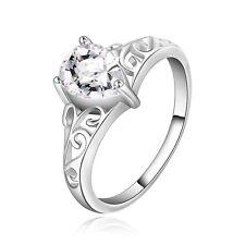 Elegant Silver Plated Water drop Zircon women ring size medium O 17 mm FR178