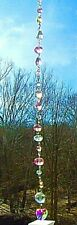 """CRYSTAL SUNCATCHER-HEARTS- PINK/CLEAR-11"""" SPARKLING/SOOTHING -HANDCRAFTED- # 939"""