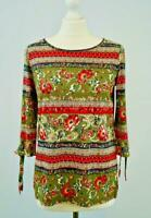 NEW Monsoon Olive Multi Floral Jersey Top Autumn Colours Now £17.50