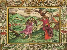 Monogrammist MT-Abraham & sodoms destruction-KOLORIERTER Gravure sur bois 1560
