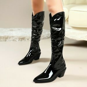 Ladies Patent Leather Pointed Toe Knee High Riding Boots Med Heels Western Shoes