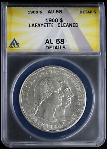 1900 Lafayette Commemorative Silver Dollar $ ANACS AU 58 Details