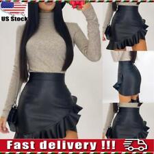 Women High Waist PU Leather Mini Skirt Ladies Wet Look Party Ruffled Club Dress