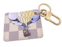 Auth Louis Vuitton Damier Azur Illustre Keyring Bag Charm Azur/Multicolor e47088