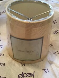 NEW Restoration Hardware Perfectly Lit English Barrel Silk Ivory Lampshade - A
