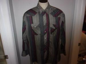 Men's Wrangler Western Shirts sz 4XB BIG & TALL Gray LS Western Shirt