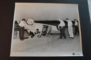 Unusual Photo Upside down 1949 Chrysler Car Wreck Police Investigation 880