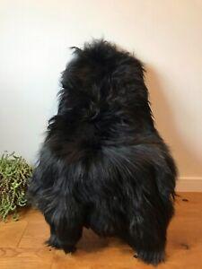 XXL Large Genuine Icelandic Sheepskin Sheep Rug Natural Natural Black/Beige