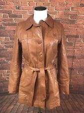 Vintage 70s 80s Leather Coat Brown - Tie Waist Faux Fur Zip Lining Small Medium