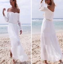 White Women Sexy Off Shoulder Beach Long Shirt Dress Lace Beach Maxi Dresses new