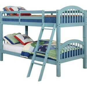 Seafoam Blue twin over full bunk bed
