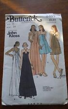 Rare Butterick John Kloss 3407 misses keyhole drawstring knit gown size 12 NEW