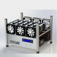 Crypto Coin Open Air Mining Frame Rig Case 6 GPU's ETH BTC Ethereum + 6 Fans