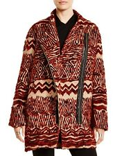 Free People Coat Jacket Red Ikat Faux Fur Wool Tribal Burnt Combo S $526