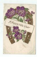 Embossed Antique ECC New Years Post Card Gold Foil Horseshoe Purple Pansies