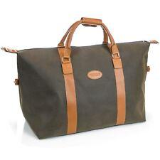 Mens Travel Bag Holdall Weekend Overnight Leather LOOK Duffle Khaki Large