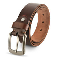 Genuine Leather Belts For Men, 100% Full Grain Leather Belt, With Antique Buckle