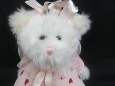 WHITE SHAGGY TEDDY BEAR POLKADOT HEART SITS DOWN BABY GIRL VALENTINE PLUSH SOFT
