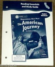 8TH GLENCOE THE AMERICAN JOURNEY to WORLD WAR I WORKBOOK U.S.HISTORY HOMESCHOOL