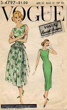 1950's VTG VOGUE Misses' Dress and Overskirt Pattern 4797 Size 10