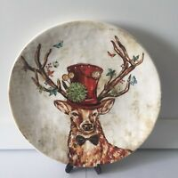 NWT ~ Pier 1 REGAL DEER Stag Salad Plate Bow Tie Top Hat Holiday Christmas