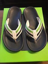 New Authentic Hugo Boss Green Men Black Flip Flop Sandals Thong Beach Shoes 6/7