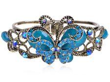 Vintage Aquamarine Ocean Crystal Rhinestone Butterfly Bangle Bracelet Cuff Gift