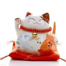 Ceramic Maneki Neko Lucky Cat Coin Bank Fengshui Good Fortune