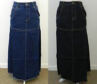 DENIM LONG MAXI SKIRT BLACK BLUE FULL LENGTH JEANS UK SIZE 10 12 14 16 18 20 22