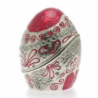 ARORA Contemporary EASTER TRINKET BOX Enamelled Pewter Crystals Ruby Colour Egg