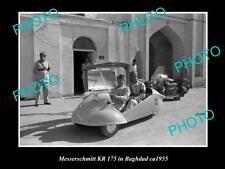 OLD LARGE HISTORIC PHOTO OF MESSERSCHMITT KR175 CAR c1955, BAGHDAD