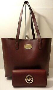 Michael Kors Lot of 2 Burgundy Leather Tote Shoulder Purse Bag & Wallet Clutch