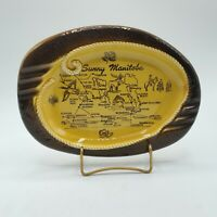 "Vintage Sunny Manitoba Tourist 9.5"" Made In Japan Ashtray CANADA WINNIPEG"