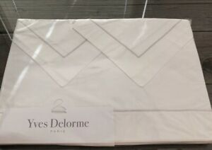 YVES DELORME PARIS PARURE 4 PIECE SHEET SET KING WHITE/SILVER MADE IN FRANCE NEW