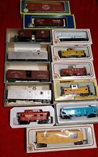 Lot of 13 HO Scale Railroad Car ---Athearn, AHM,  Bachmann HO w/Boxes