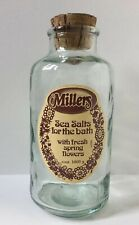 Vintage Millers Sea Salts For The Bath Glass Storage Bottle With Cork Lid