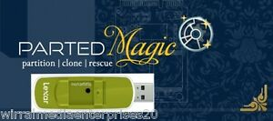Parted Magic Partition Manager on 8Gb branded memory stick Resize partitions