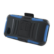 HTC First Holster HYBRID KICK STAND Rubber Silicone Case Phone Cover Black Blue