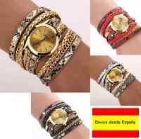 Reloj de Pulsera Mujer Geneva Correa cuero y pulsera dorada. Elegante