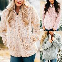 Women Winter Fleece Fluffy Sweater Jumper Ladies Warm Zipper Neck Pullover Tops