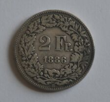1886 B Switzerland 2 Francs Swiss Silver Coin