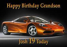 Personalised birthday card McClaren  car son grandson brother nephew