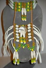 "NATIVE-LOOK 29""x9""  BREASTPLATE, HAIRPIPE, GREEN & YELLOW BEADS, LEATHER, NEW!"