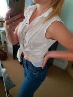 River island white sleeveless shirt top size 8