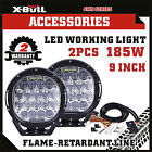 X-BULL Pair 185W CREE LED Driving Light Offroad Spotlight Black Round HID Bar