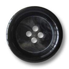 3 elegante sehr große schwarz grau melierte Vierloch Mantelknöpfe (1455gs-34)